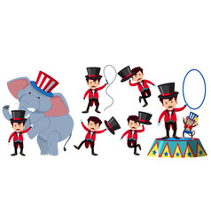 animal trainer in the circus with elephant and vector image