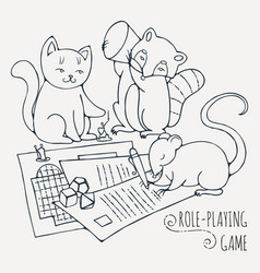Animals playing board role-playing game vector