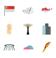 Attractions of Singapore icons set flat style vector