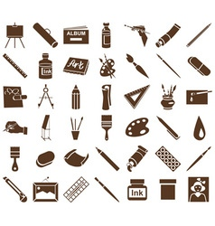 attributes of art icons on white vector image