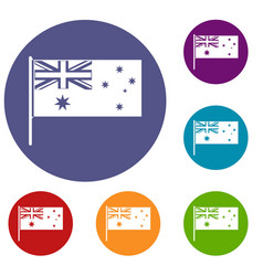 Australian flag icons set vector