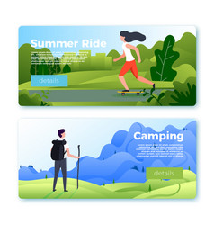 banners with rolling girl and hiking man vector image
