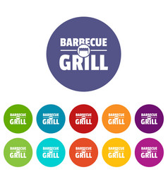 barbecue grill icons set color vector image