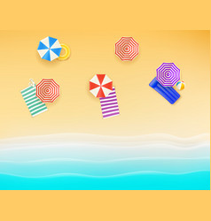 beautiful beach with color umbrellas and towels vector image