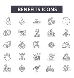 Benefits line icons for web and mobile design vector