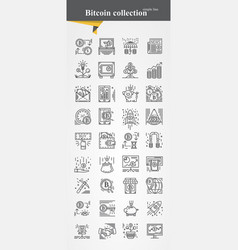 bitcoin icon set modeern thin line vector image