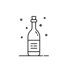 black thin line wine bottle icon vector image