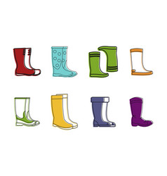 Boots icon set color outline style vector