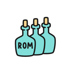 bottles rum alcohol drink container flat vector image