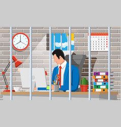 Businessman working on computer in prison cell vector