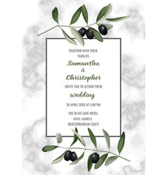 Classic marble wedding invitation card with olive vector
