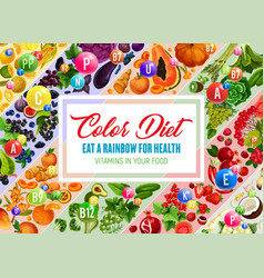 Color diet poster with fresh vegetable and fruit vector