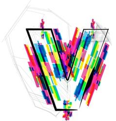 Colorful Font - Letter v vector image