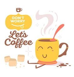 Colorful red and yellow smile cup of coff vector