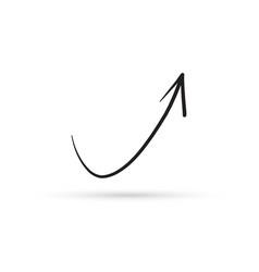 curve arrow draw doodle brush sketch cartoon vector image