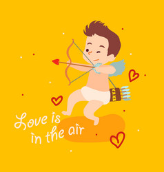 cute cupid angel aiming from bow happy vector image