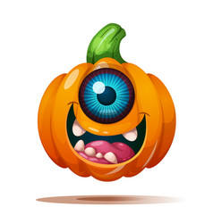 Cute funny crazy pumpkin characters halloween vector