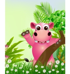 cute hippo cartoon smiling with tropical forest ba vector image