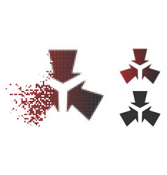 Dispersed pixel halftone shrink arrows icon vector