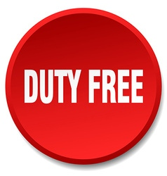 Duty free red round flat isolated push button vector
