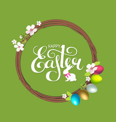 easter wreath with spring branches flowers vector image