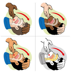 first aid person opening mouth clearing airway vector image