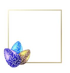 frame with realistic easter eggs with blobs vector image