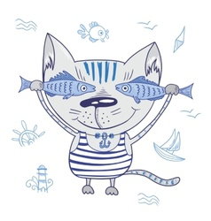 Funny Cat with Fishes vector image