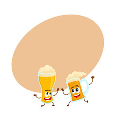 funny smiling beer glass and mug character friends vector image
