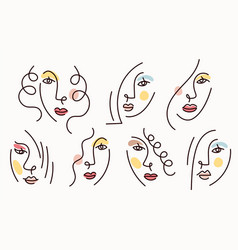 Girl face simply line drawing set vector