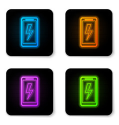 glowing neon smartphone charging battery icon vector image