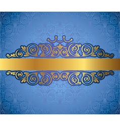 Gold antique frame on blue decorative background vector image
