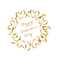 Gold valentine message frame with text space vector