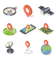Gps navigation icons set vector