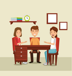 Group of family members in the dinning room vector