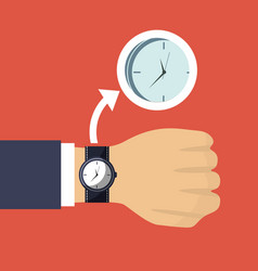 Hand business man with wrist watch and clock vector