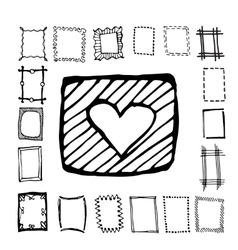Hand drawn rectangle frames set vector image