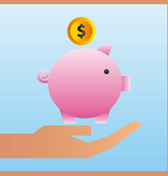 hand holding piggy bank coin family protection vector image