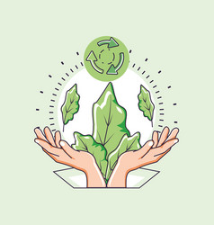 Hands and sustainability design ilustration vector