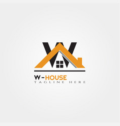 House icon template with w letter home creative vector