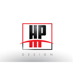hp h p logo letters with red and black colors and vector image