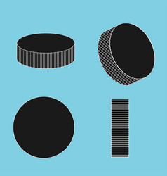 ice hockey pucks set for sports design vector image