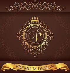 Letter p luxury logo template flourishes vector