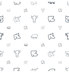 Livestock icons pattern seamless white background vector
