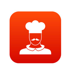 male chef cook icon digital red vector image