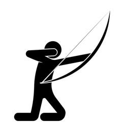 Man an archer shot at a target kneeling shooter vector