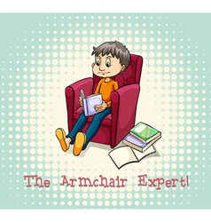 Man sitting on armchair reading vector image