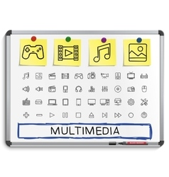 Media hand drawing line icons vector