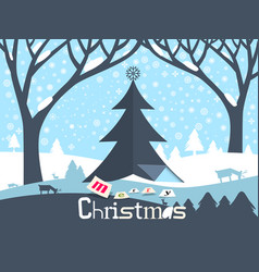 merry christmas design ith paper cut xmas tree vector image