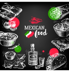 Mexican traditional food background hand drawn vector